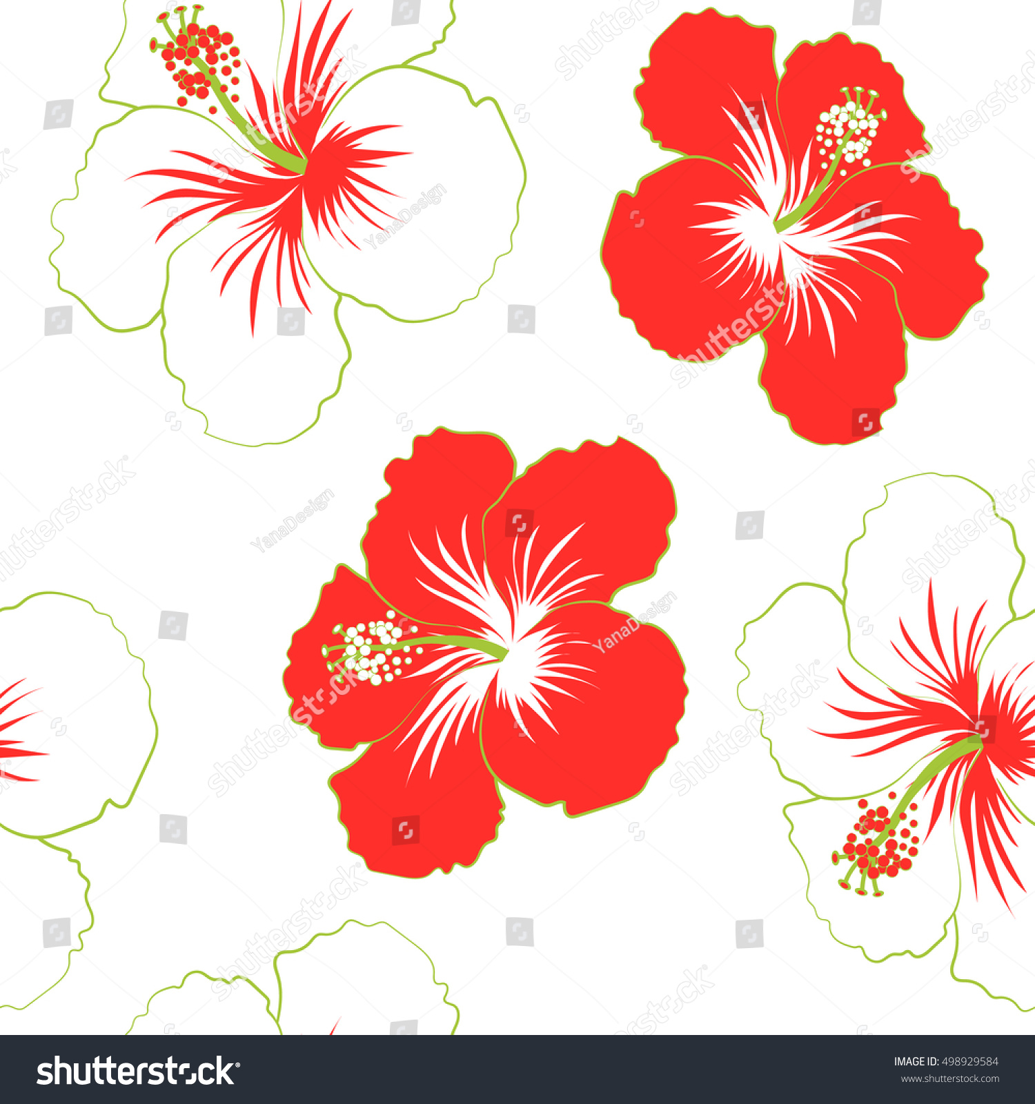 Hibiscus Flowers Red Colors Watercolor Painting Stock Vector ...