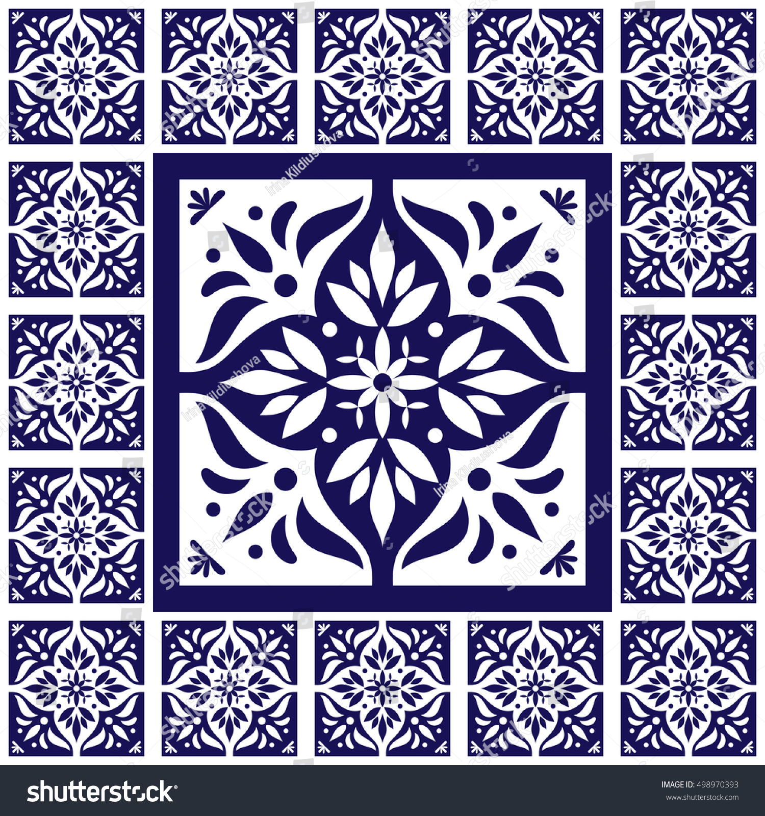 Blue white tiles floor lace pattern stock vector 498970393 for Blue and white cement tile