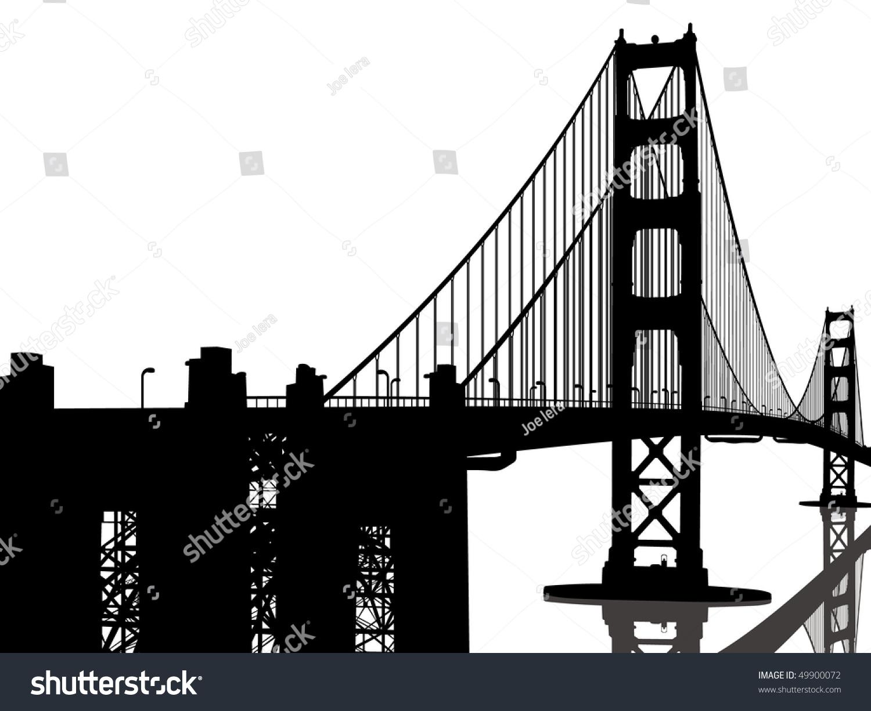 Golden Gate Bridge Silhouette Stock Vector Illustration ...