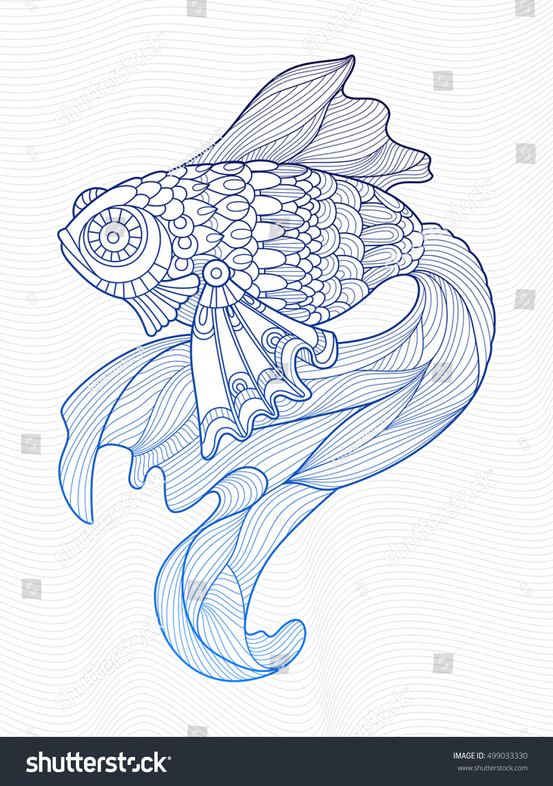 Gold Fish Coloring Book For Adults Raster Illustration Anti Stress Adult