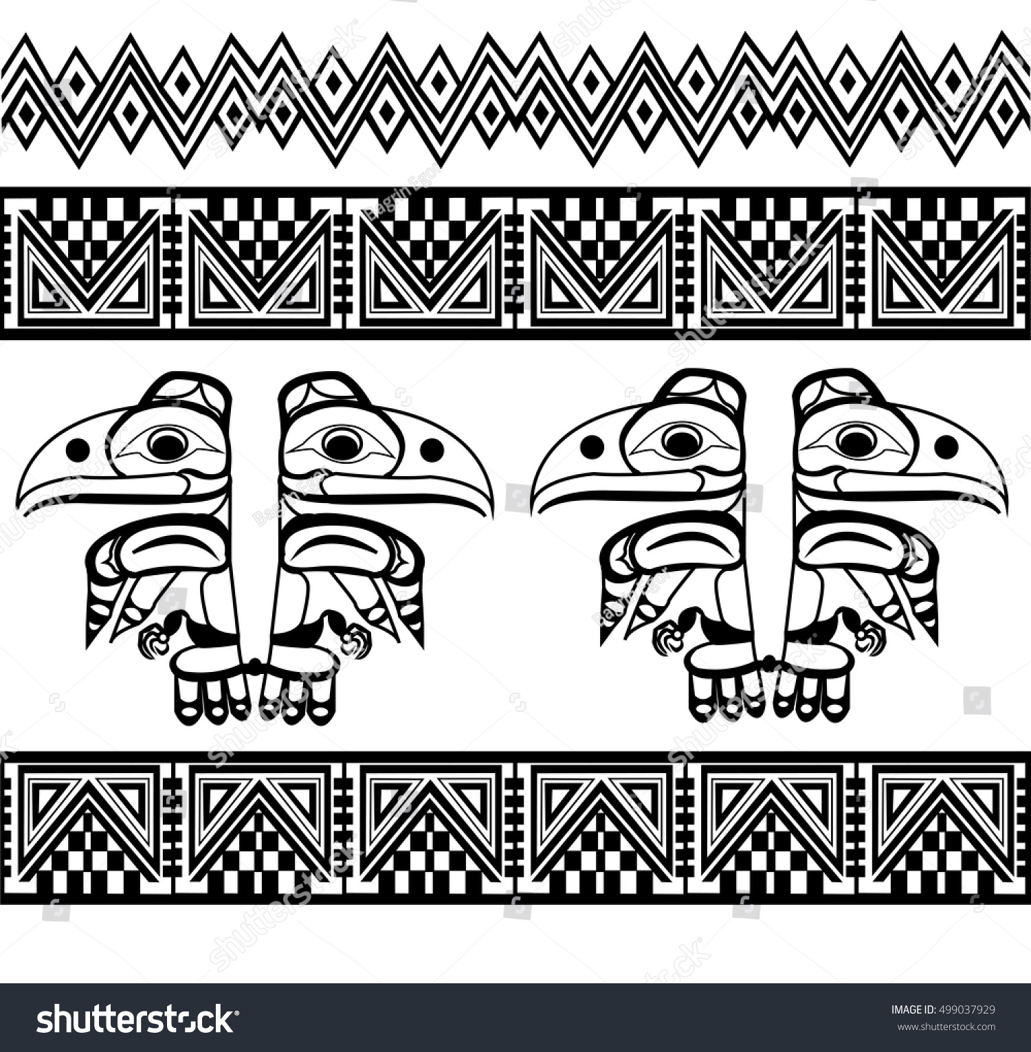 Background geometric mexican patterns seamless vector zigzag maya - Ethnic Patterns Of Native Americans The Aztec Inca Maya Alaska Indians