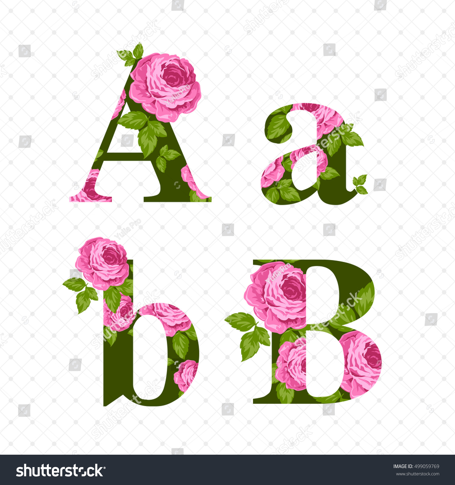Vintage Flower Alphabet Large Small Green Stock Vector