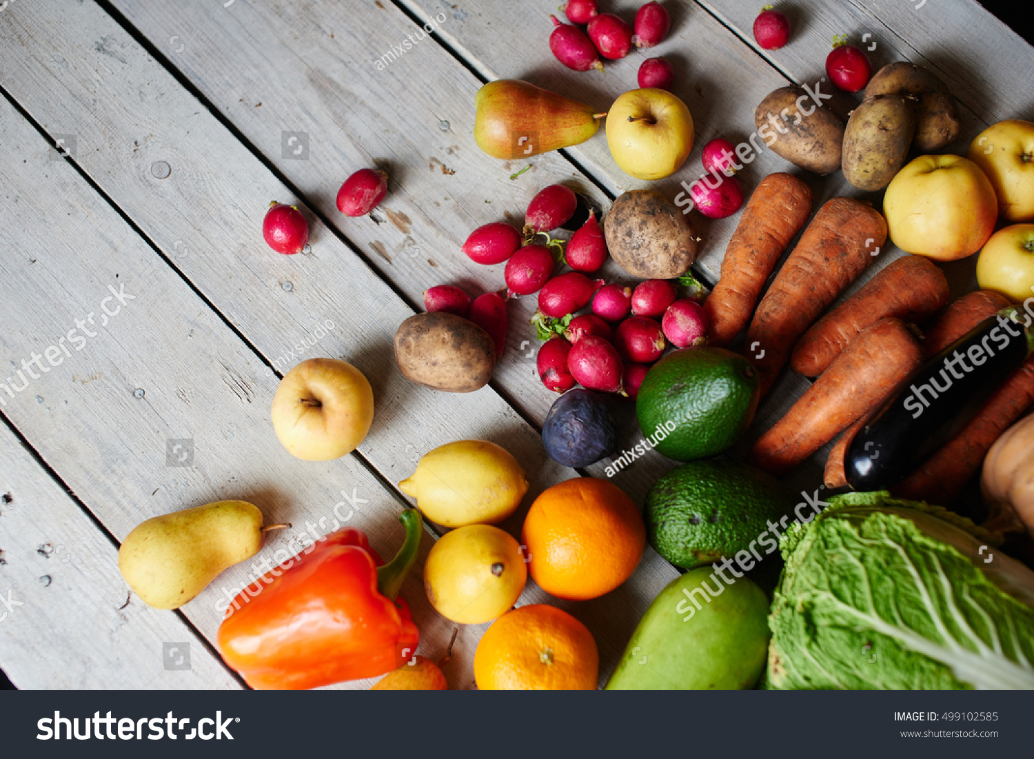 top view vegetarian set consisting vegetables stock photo