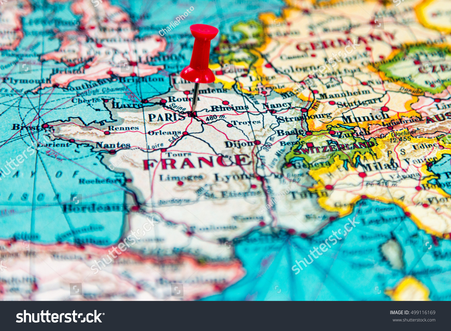 Paris France Pinned On Vintage Map Stock Photo Edit Now 499116169