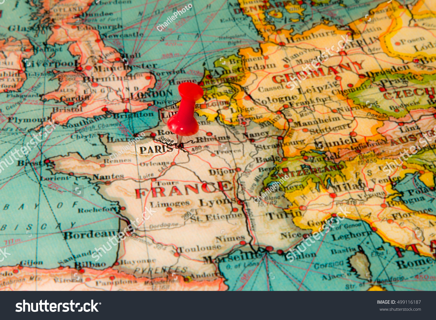 Paris On Europe Map.Paris France Pinned On Vintage Map Of Europe Ez Canvas