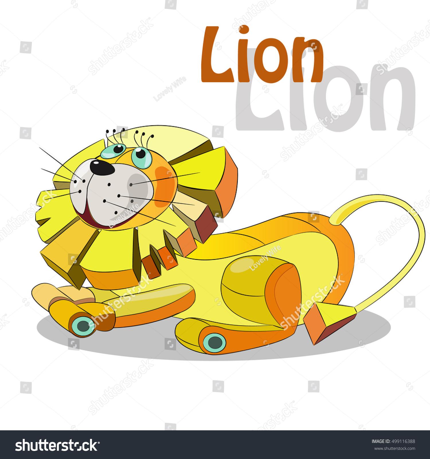 good cute cartoon lion lies on stock vector 499116388 - shutterstock