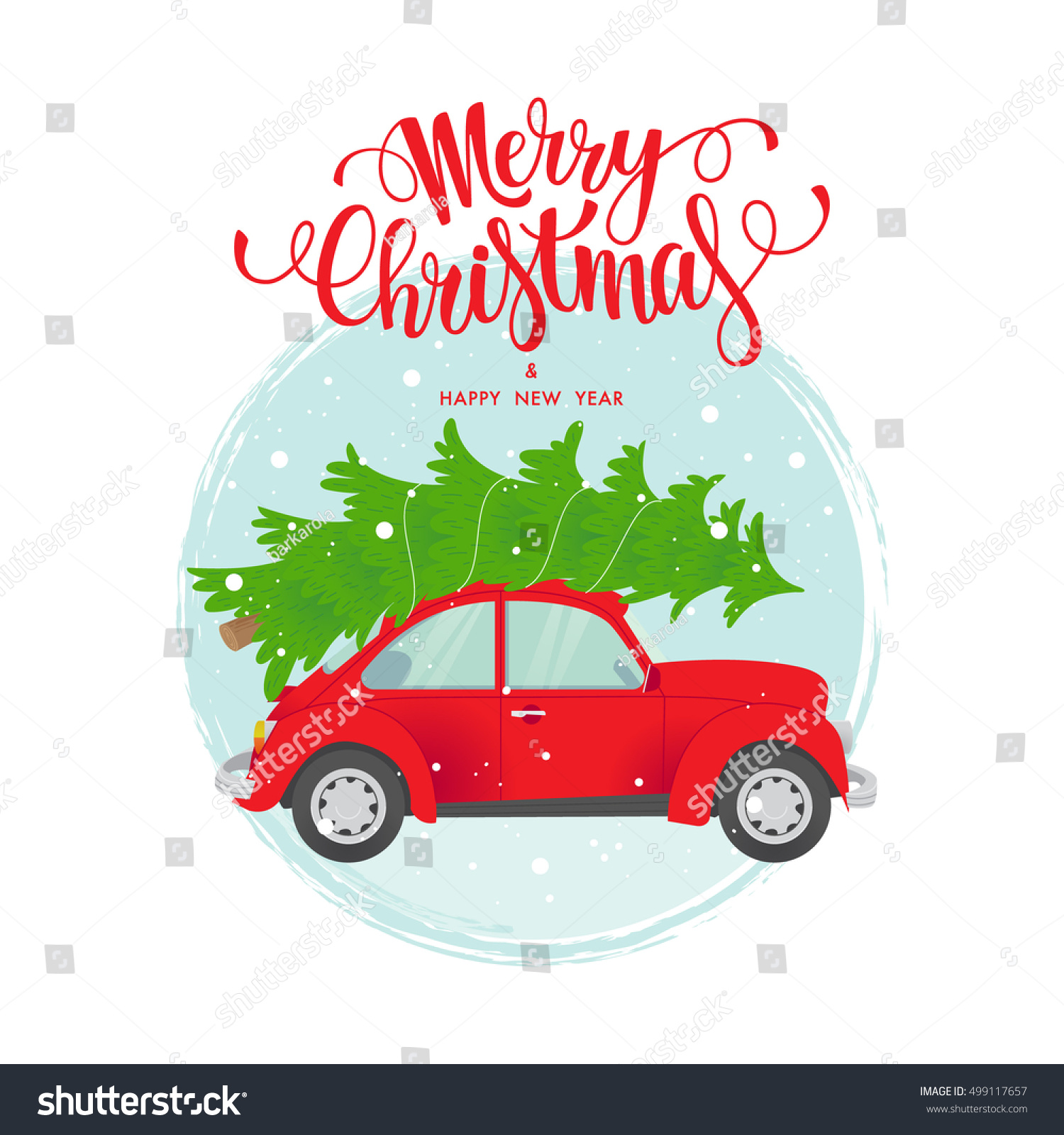 vector christmas and new year card merry christmas custom lettering merry christmas and happy