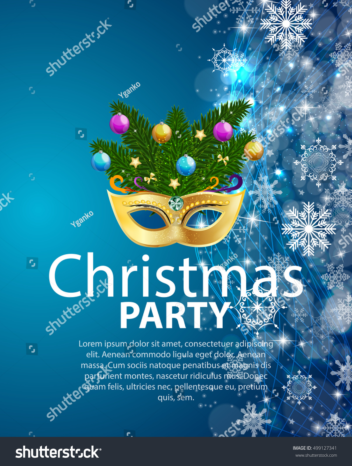 abstract beauty merry christmas and new year party background with masquerade carnival mask vector illustration eps10 ez canvas