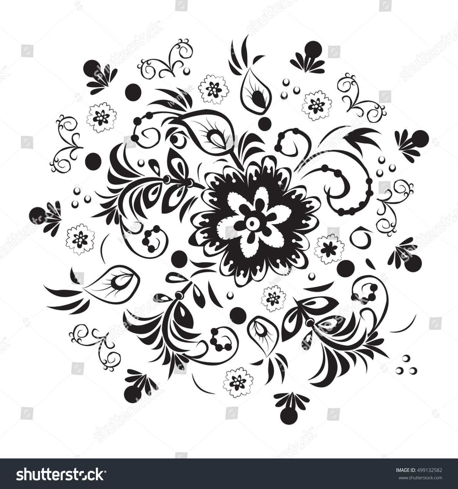 Black White Flowers Stock Vector Hd Royalty Free 499132582