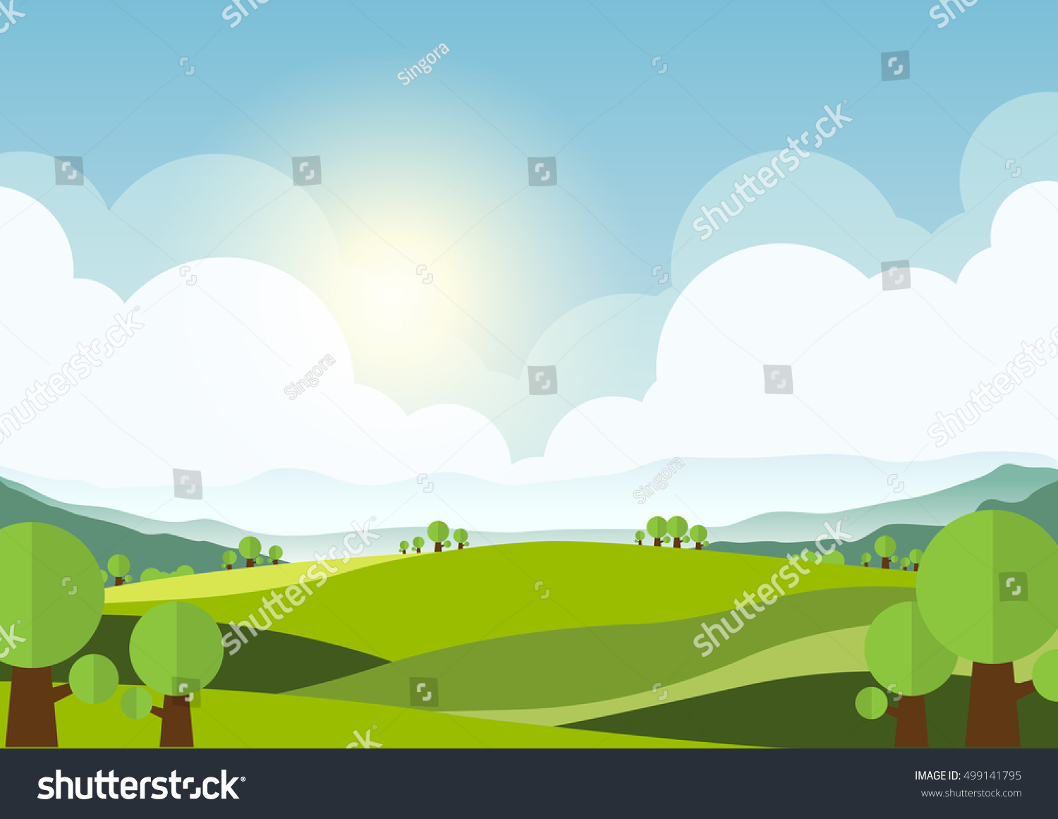 Nature Landscape Background Cuted Flat Design Stock Vector Royalty Free 499141795