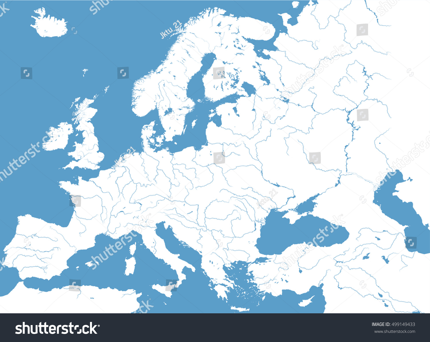 Picture of: High Detailed Vector Map Europe Main Stock Vector Royalty Free 499149433