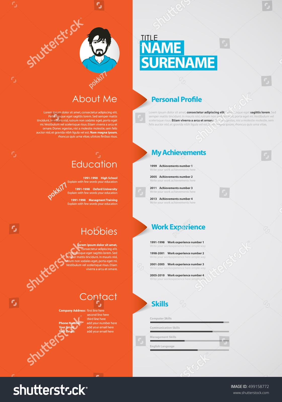 Creative Curriculum Vitae Template Orange Stripe Stock Vector