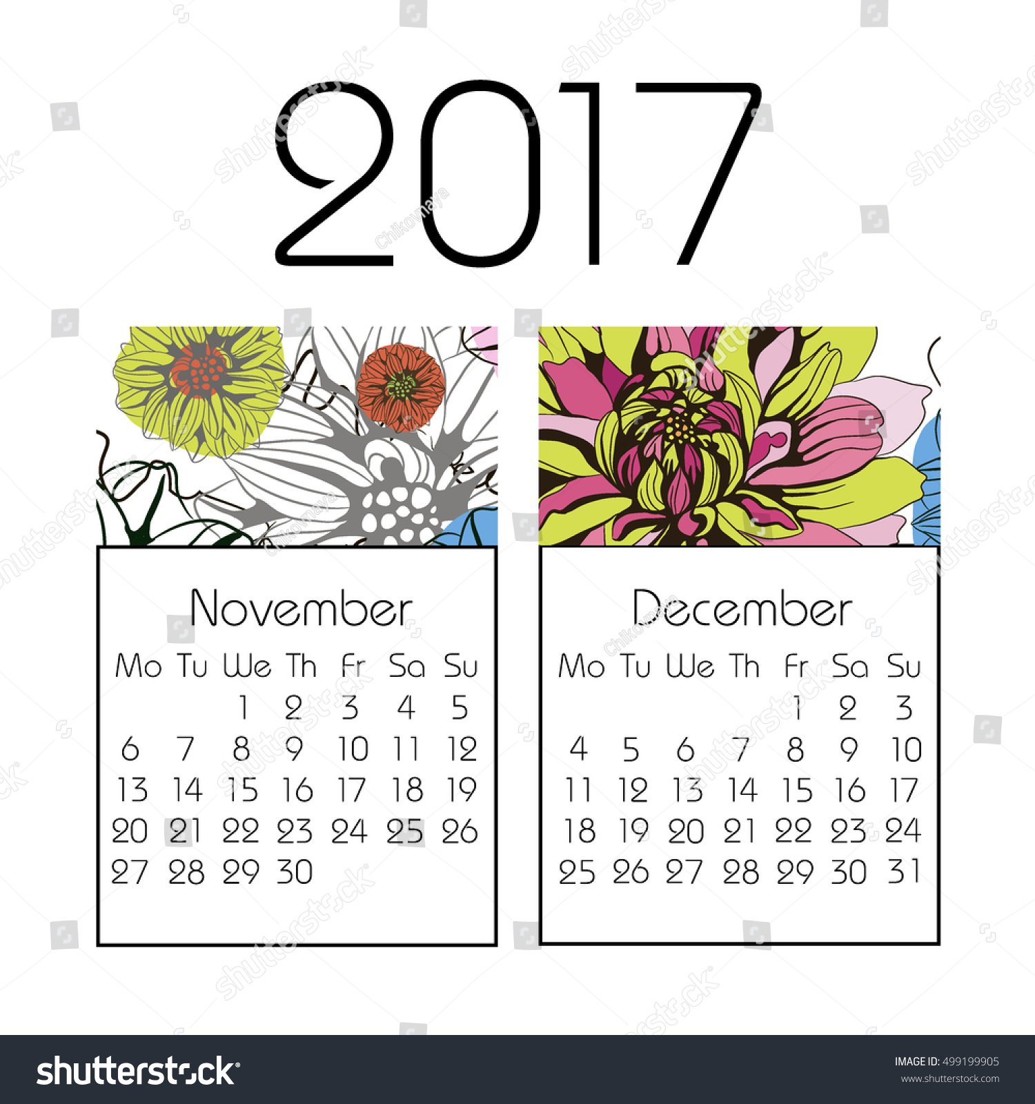 Calendar 2017 On White Background Vector Stock Vector ...