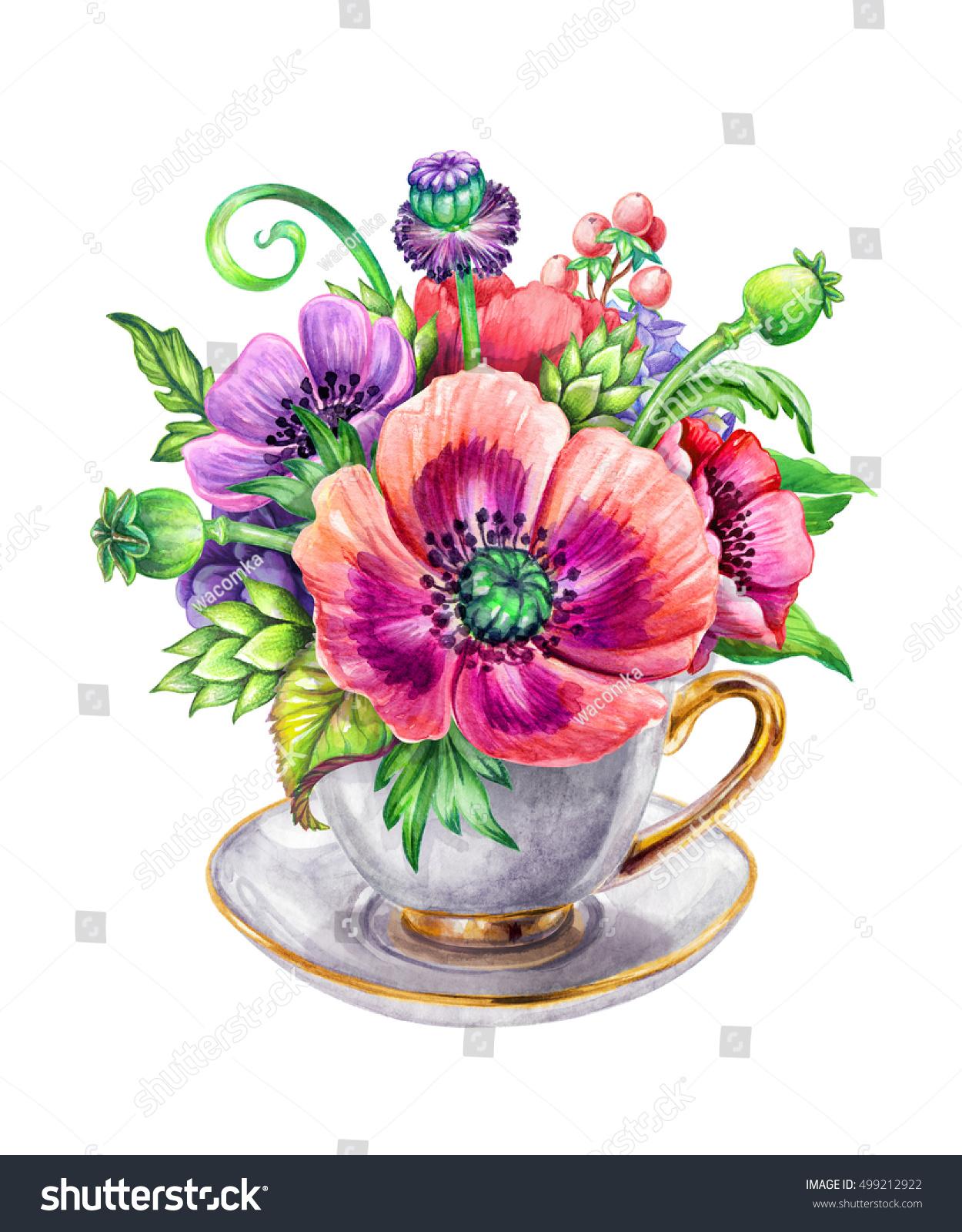 Beautiful Floral Composition Tea Cup Festive Stock Illustration