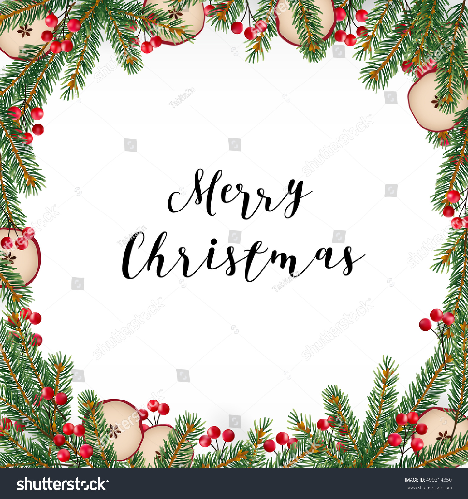 Decorative Traditional Merry Christmas Frame Wreath Stock Vector ...