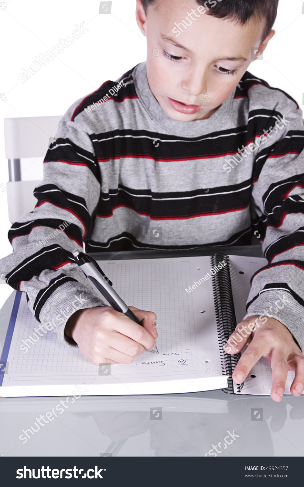 Little Kid Writing His Christmas Wish Stock Photo (Edit Now ...