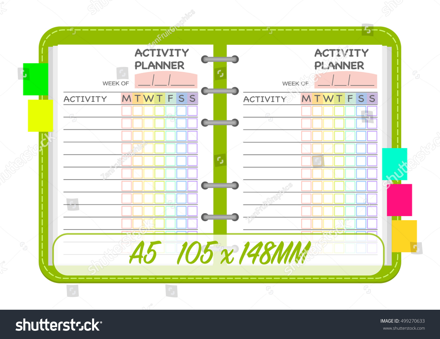 weekly activities planner template organization chart daily routine check list notebook page insert