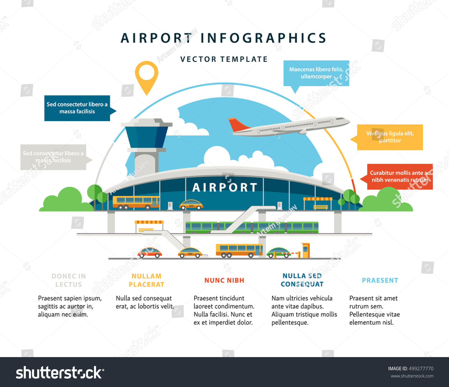Royalty Free Flat Vector Airport Infographic 499277770