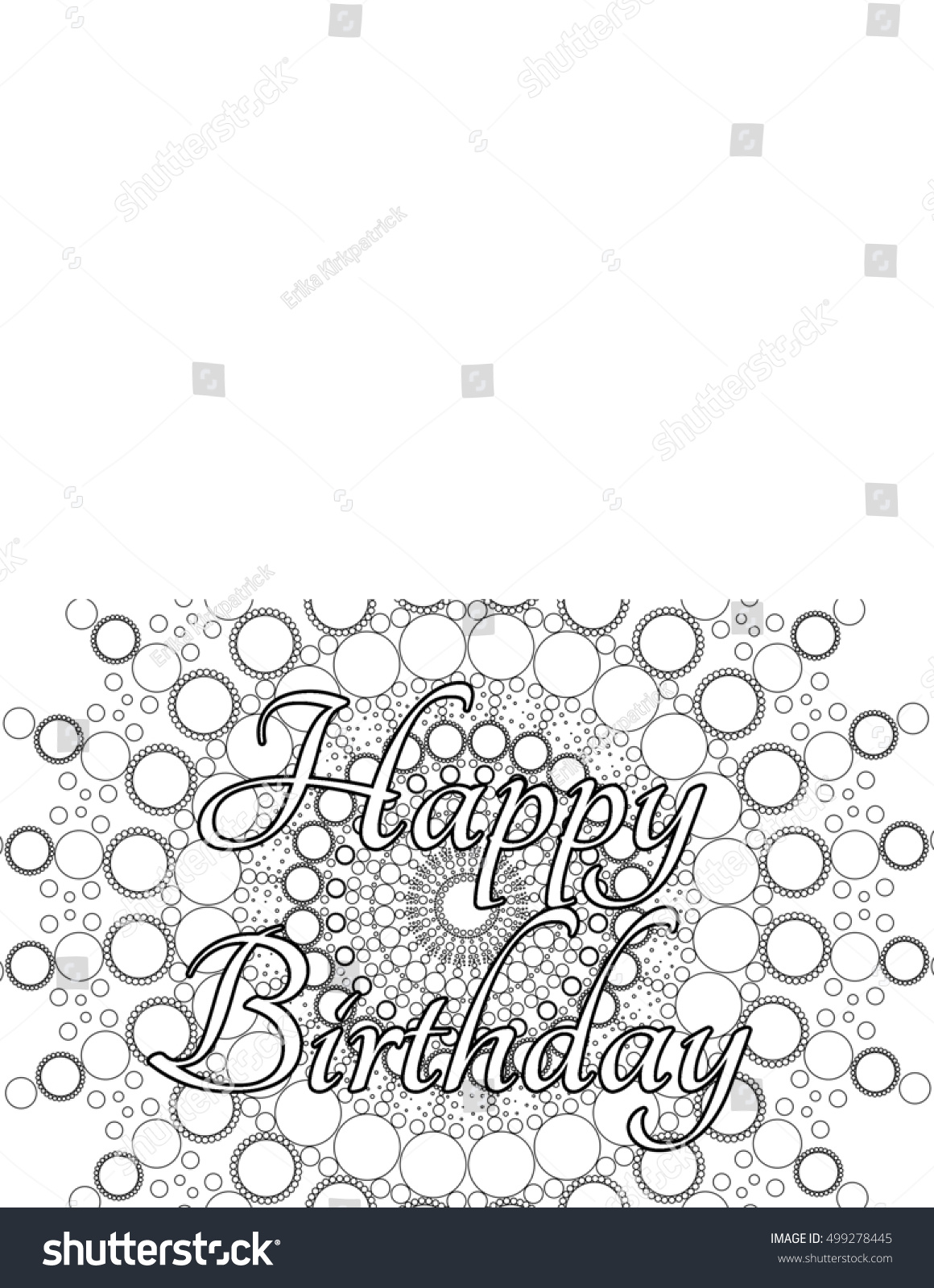 Happy Birthday Card Coloring Page Stock Illustration 499278445 ...