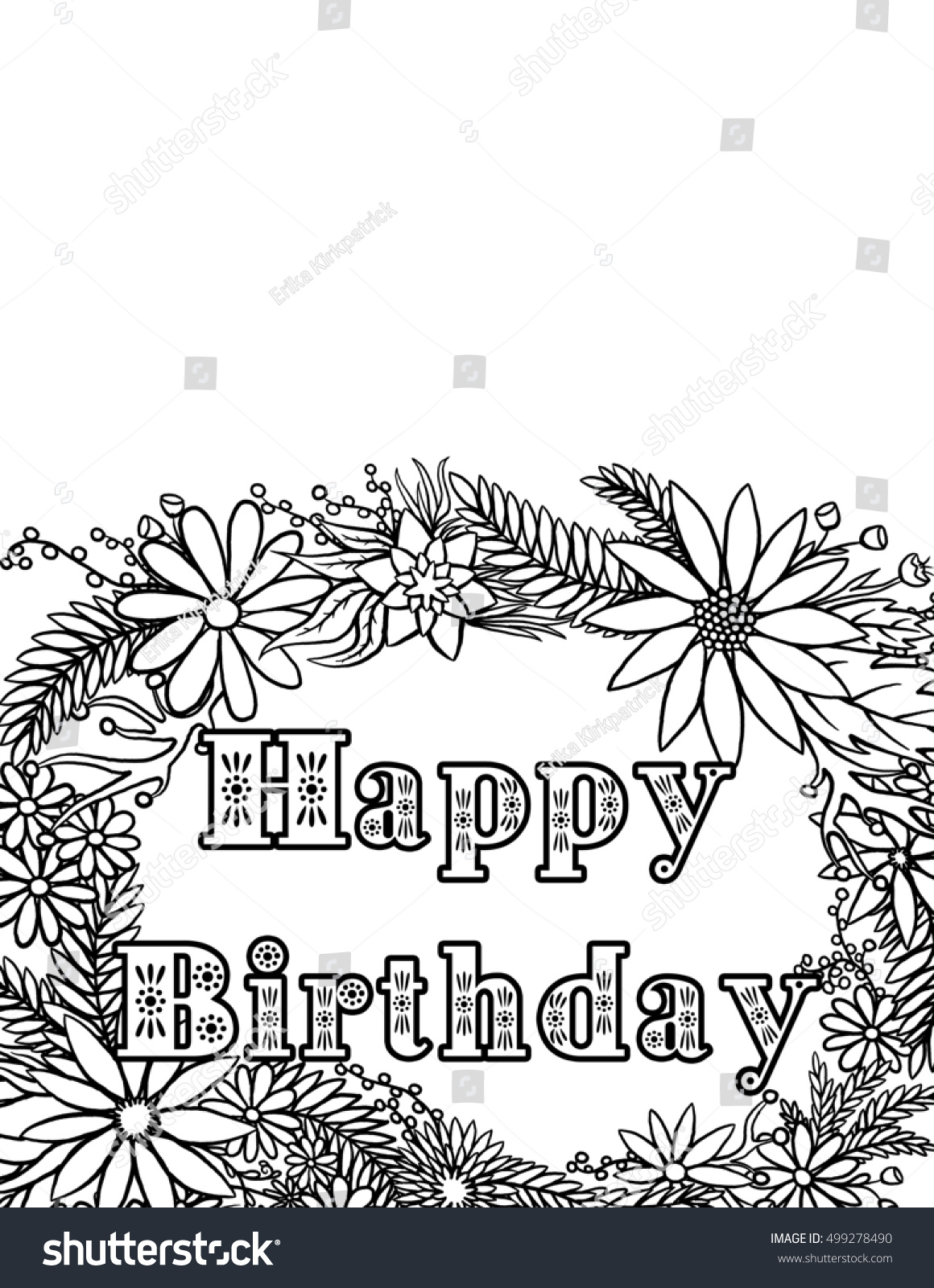 Happy Birthday Card Coloring Page Illustration 499278490 – Coloring Pages of Happy Birthday Cards