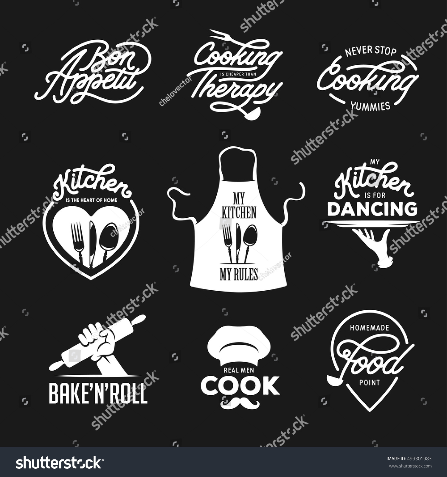 Cooking Kitchen Related Quotes Set Poster Stock Vector Royalty Free