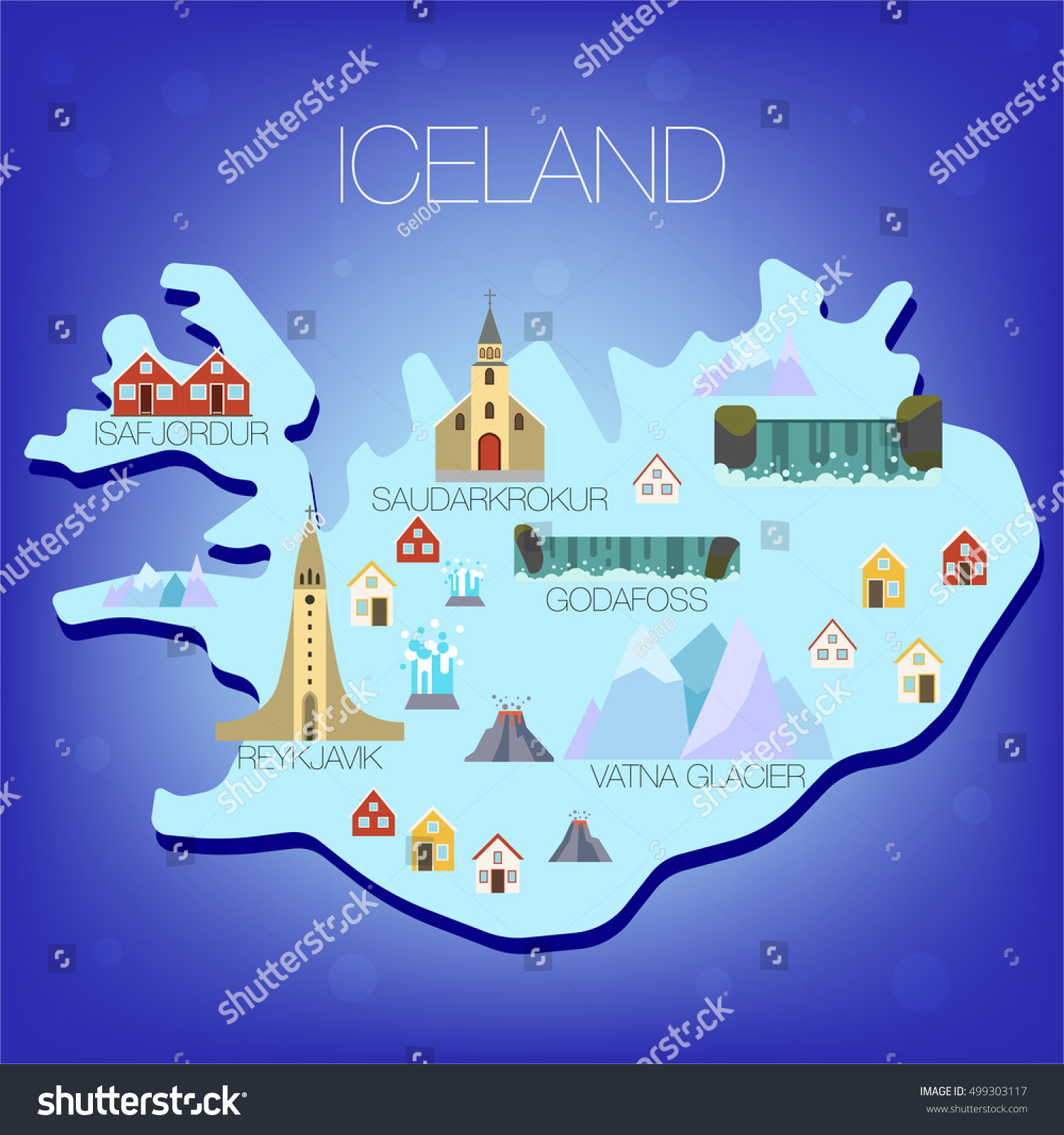 illustrated map of iceland trave attraction iceland tourist map attractionsmap of iceland. illustrated map iceland trave attraction iceland stock vector