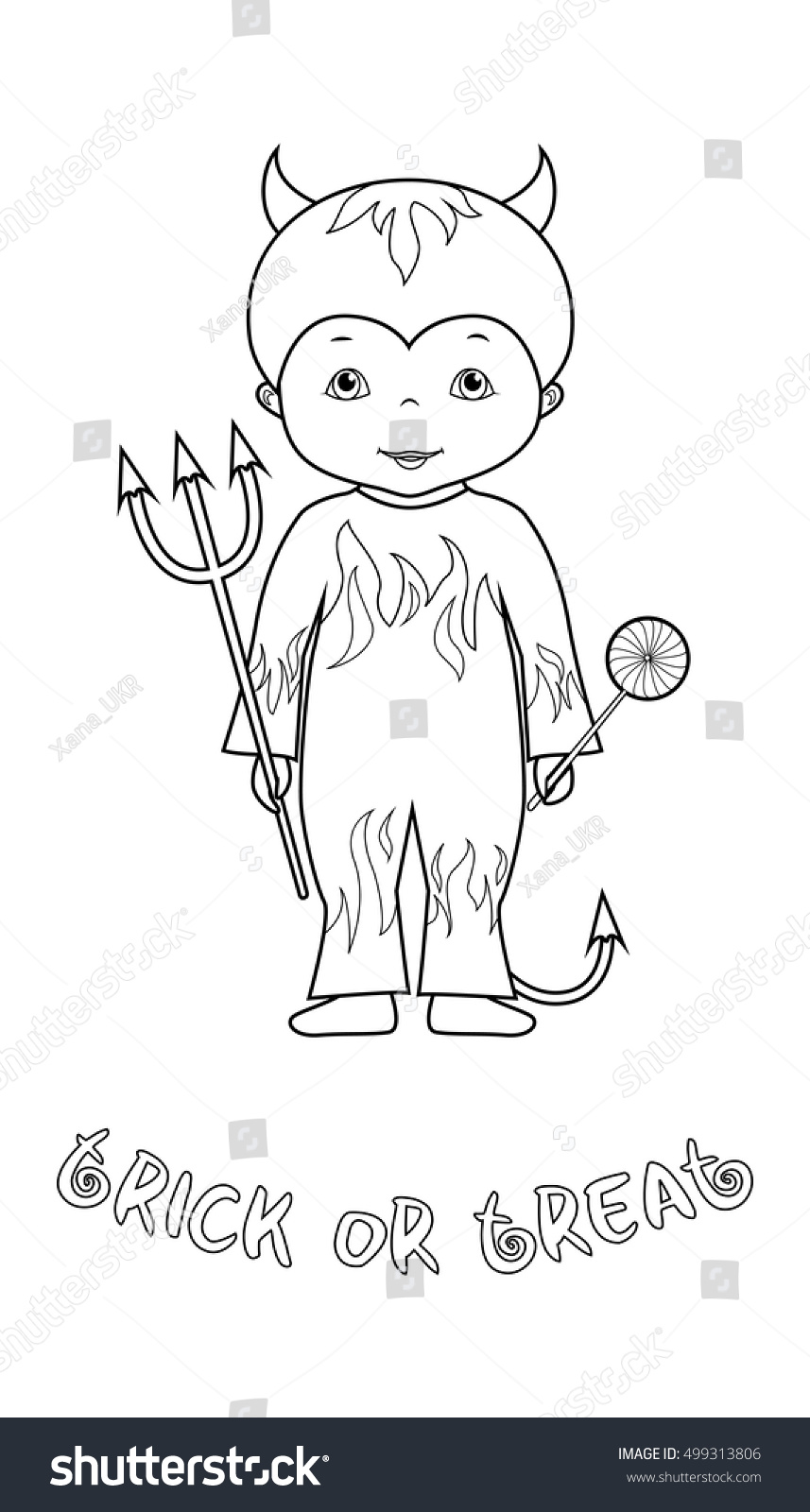 Trick Treat Halloween Vector Coloring Page Stock Vector (Royalty ...