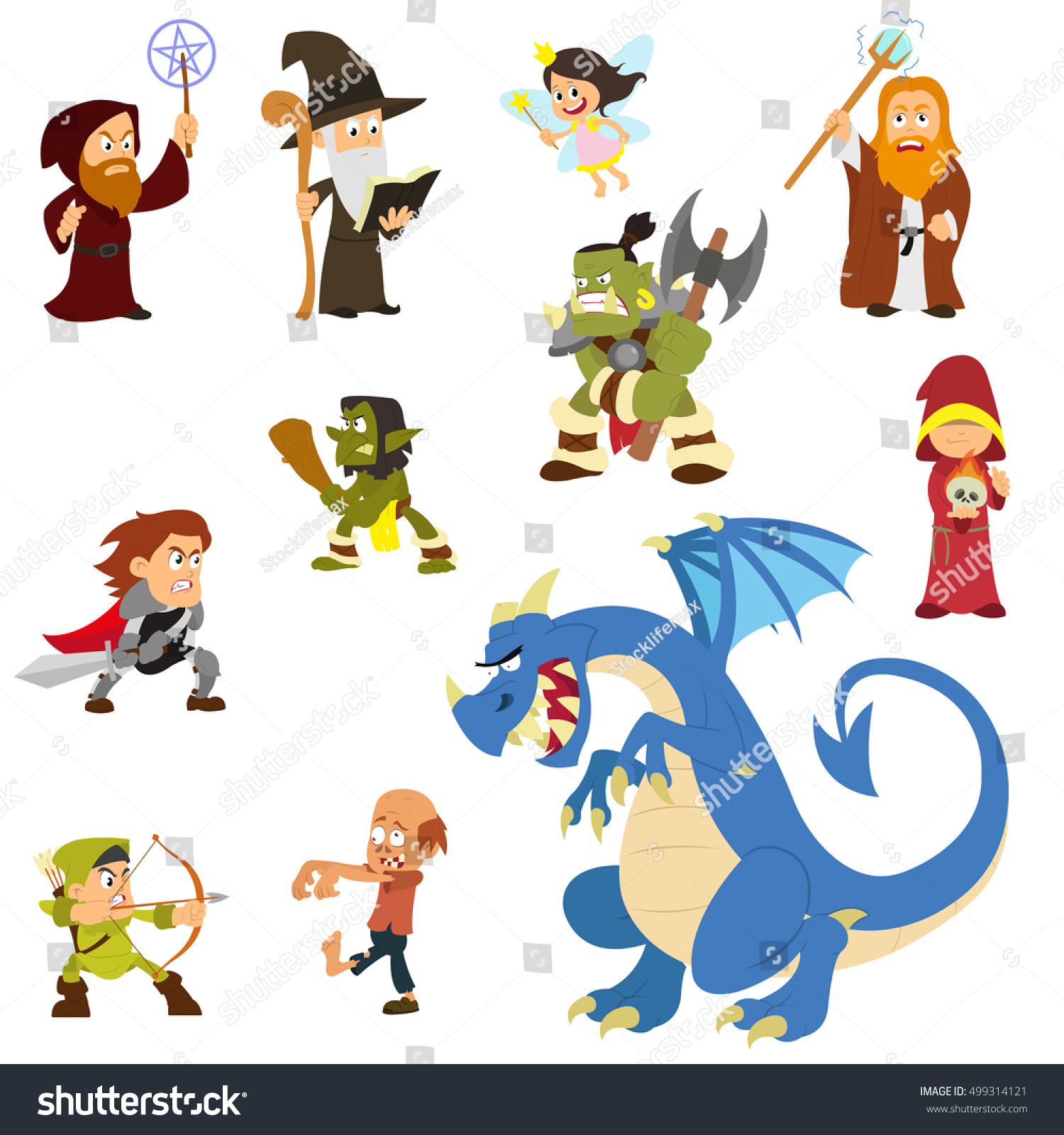 Fairy Tale Characters Fantasy Heroes Villains Stock Vector ...