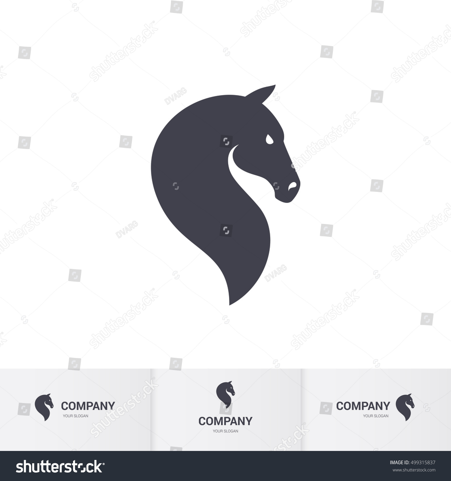 simple dark horse head mascot logo stock vector 499315837