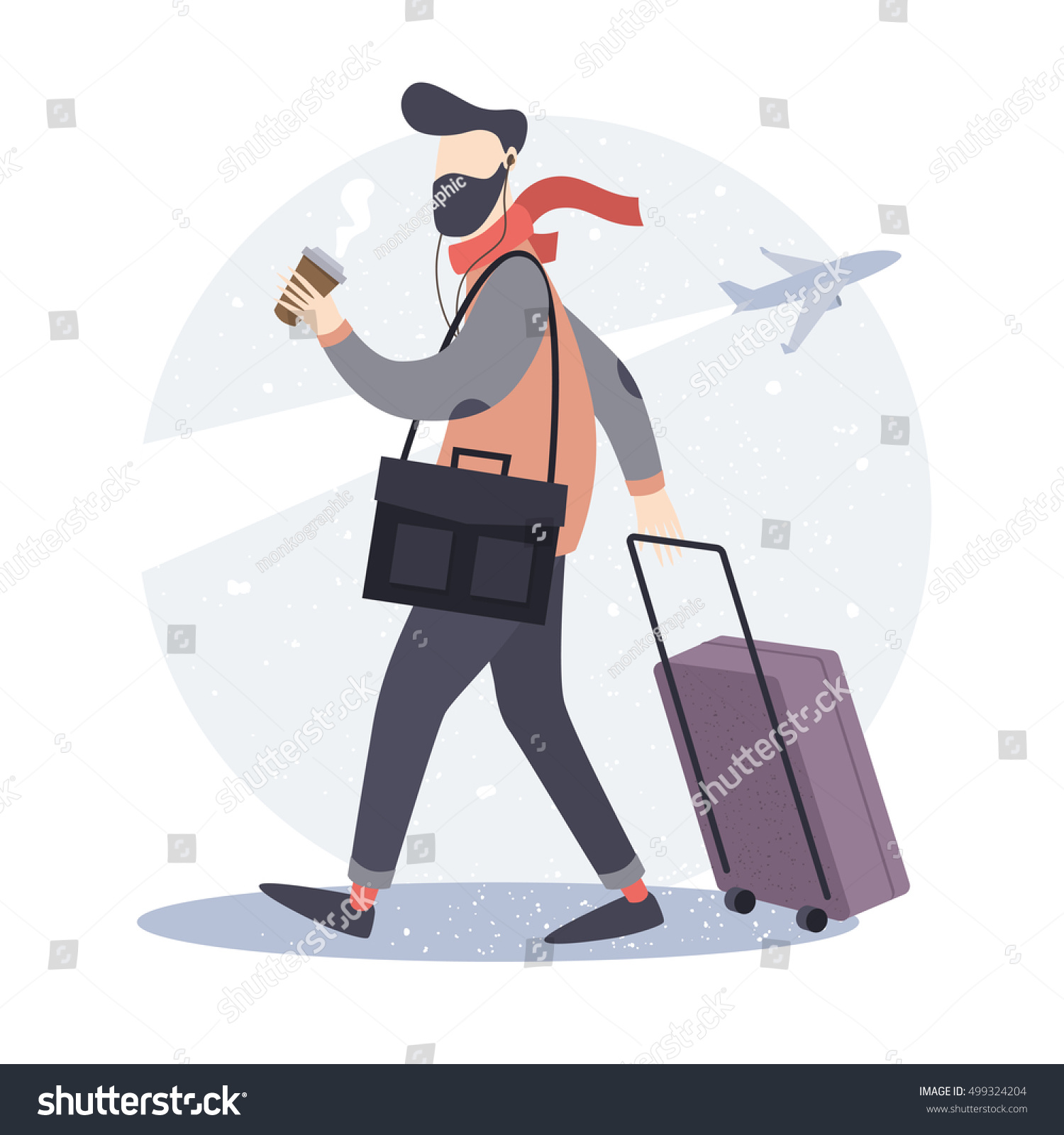 Tourist. Hipster man with a suitcase and a Cup of coffee goes to the airport. Vector illustration.