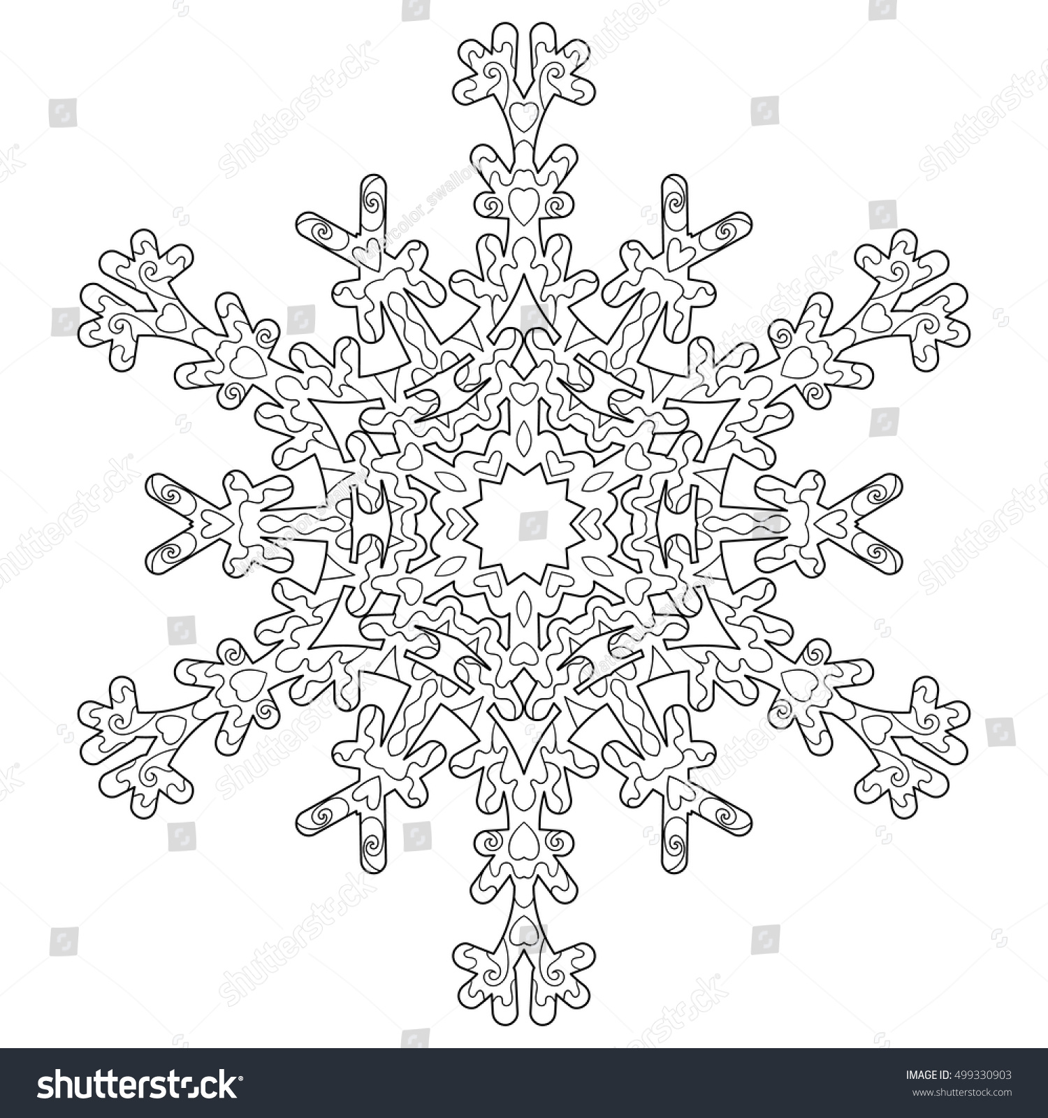 Hand Drawn Antistress Snowflake Template Cover Stock Vector (Royalty ...