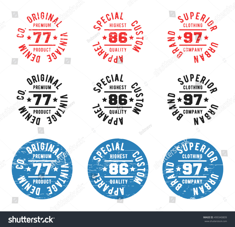 Set Color Vintage Circle Stamp Tshirt Stock Vector