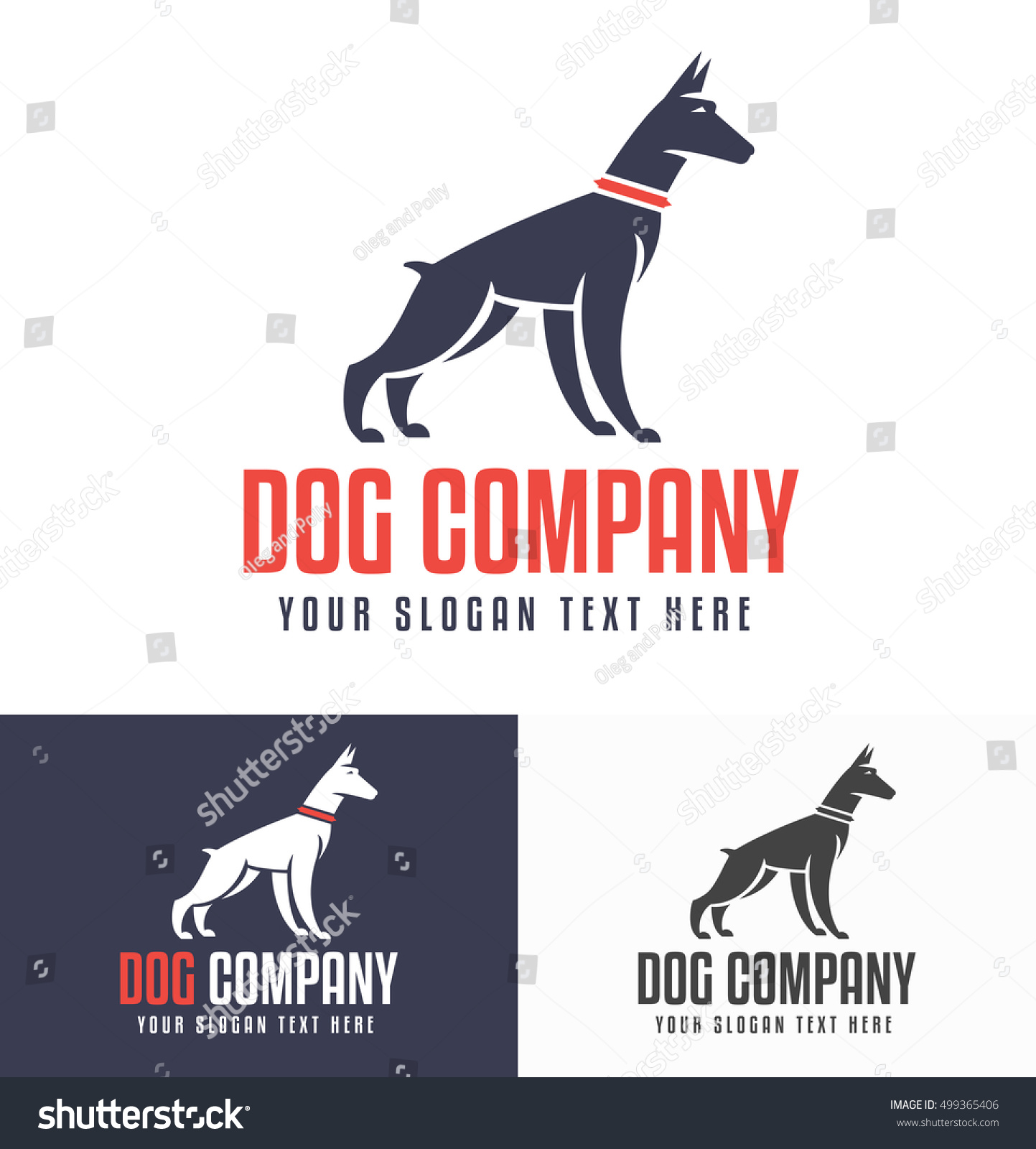 logo design for dog walking training or dog related business with the doberman silhouette in