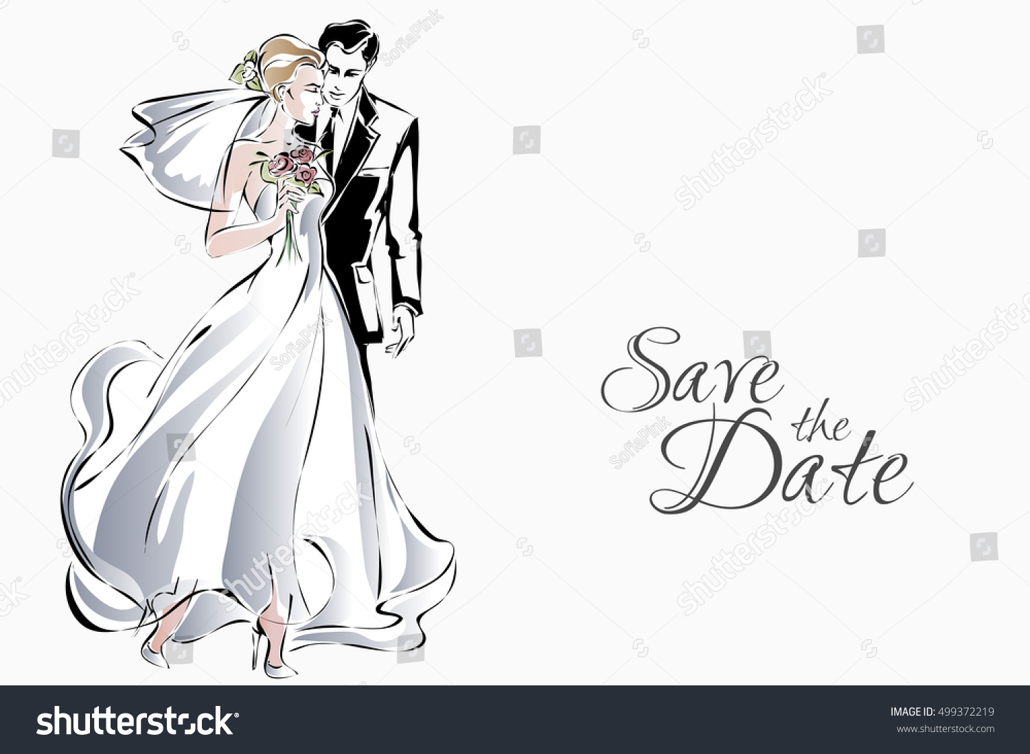 Wedding Invitation Sweet Couple Happy Bride Stock Vector (Royalty ...