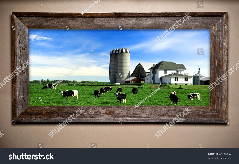 Dairy Farm Scene Image Rustic Wooden Stock Photo 49937884