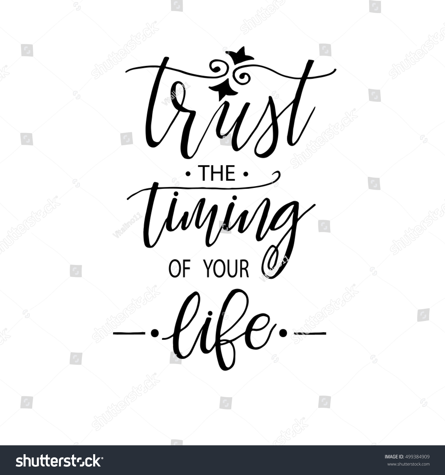 Trust Timing Your Life Motivational Phrase Stock Vector Royalty