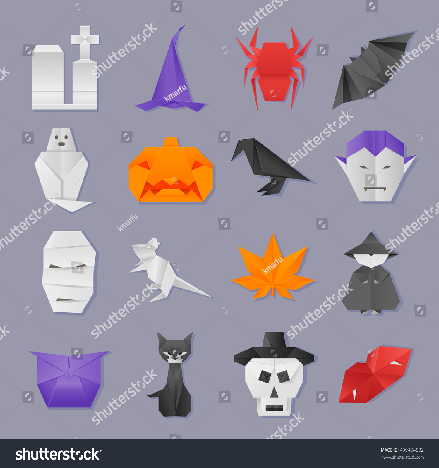 Halloween origami icons set stock vector 499404832 shutterstock halloween origami icons set jeuxipadfo Gallery