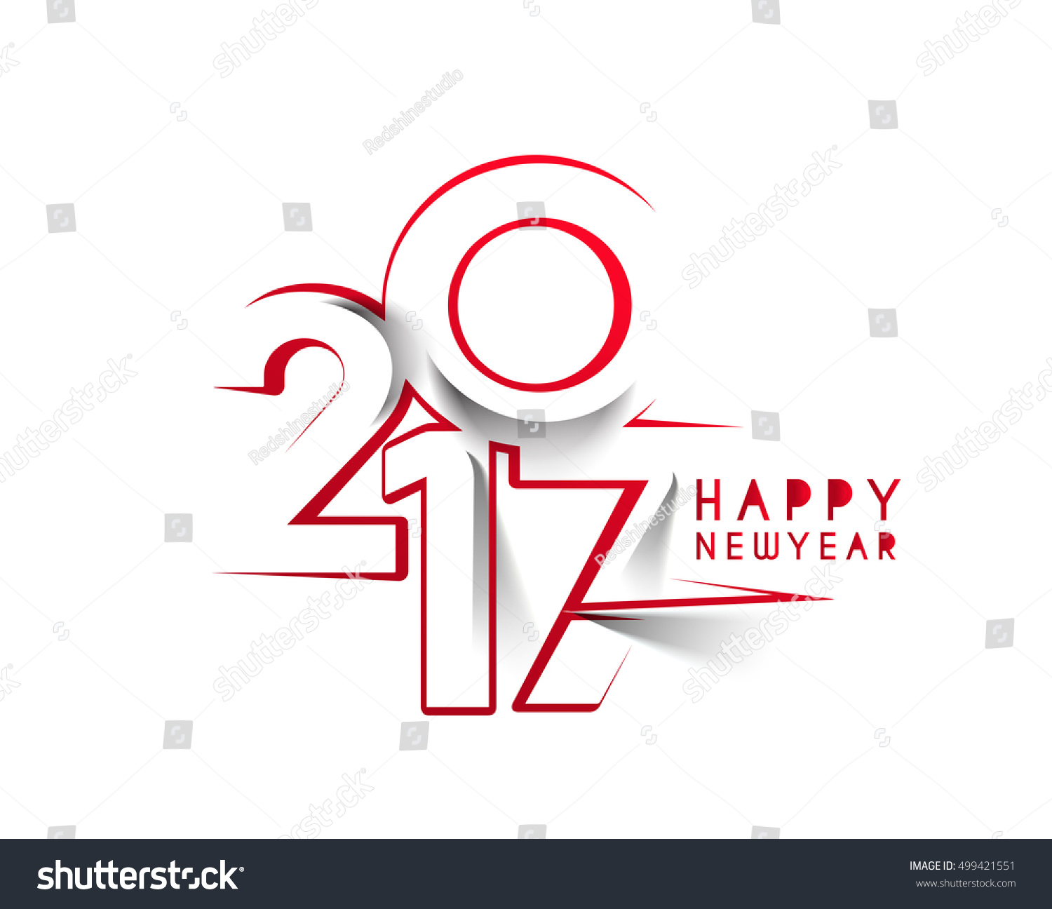 Line Art Text : Happy new year line art text design vector background