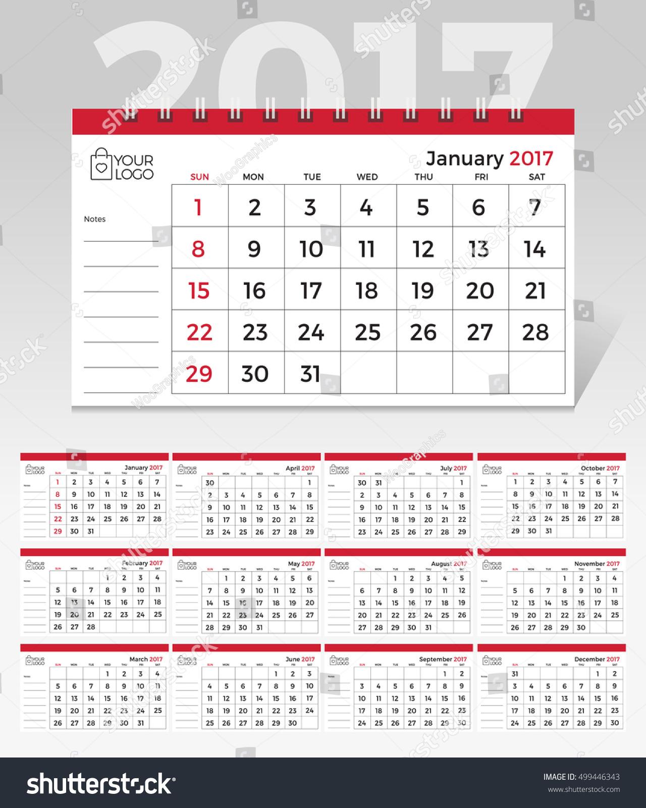 Elegant Desk Calendar Design : Desk calendar simple minimal elegant stock vector