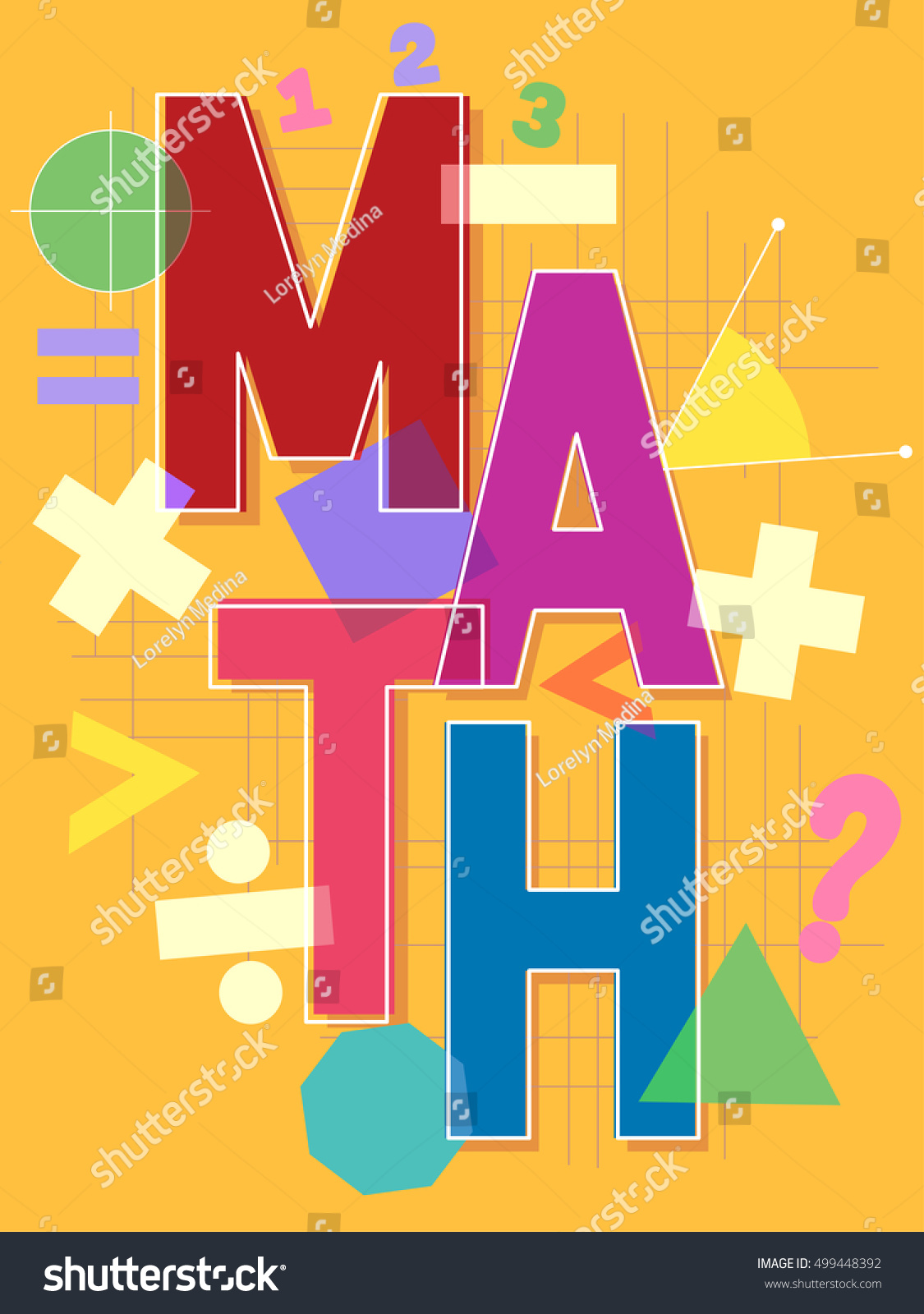 Typographical Illustration Featuring Word Math Surrounded Stock