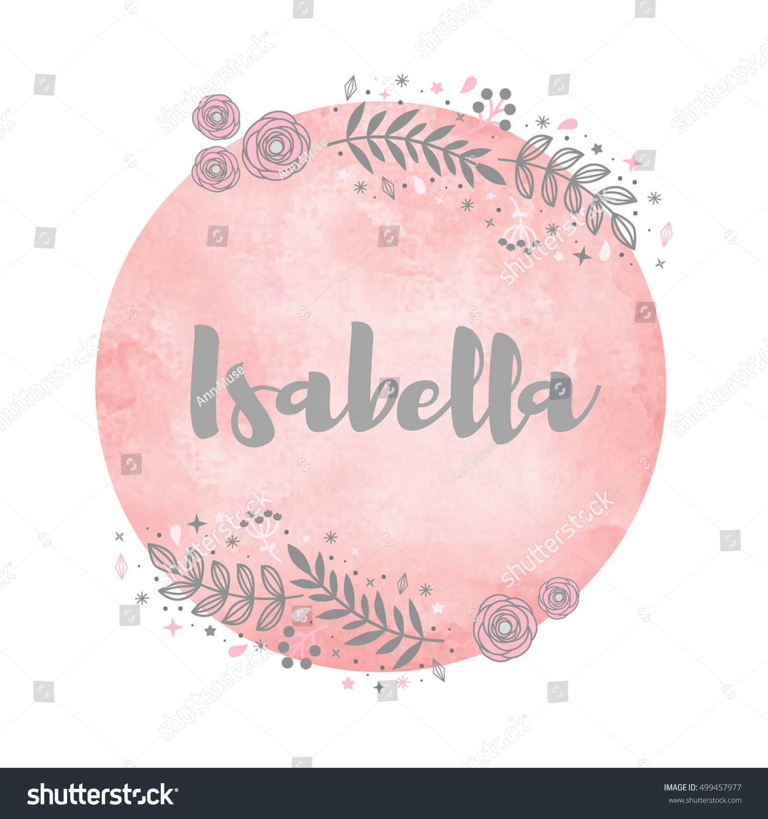 Girl Name Isabella Calligraphy Lettering Cute Stock Vector Royalty