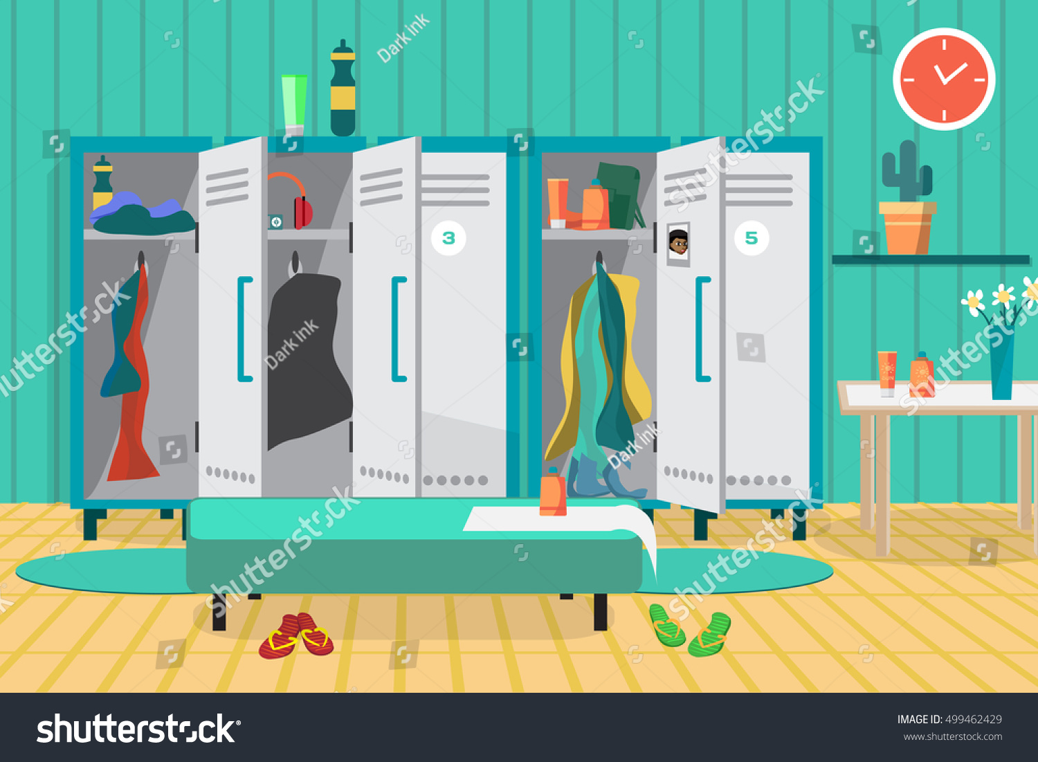 Interior gym locker room dressing place stock vector