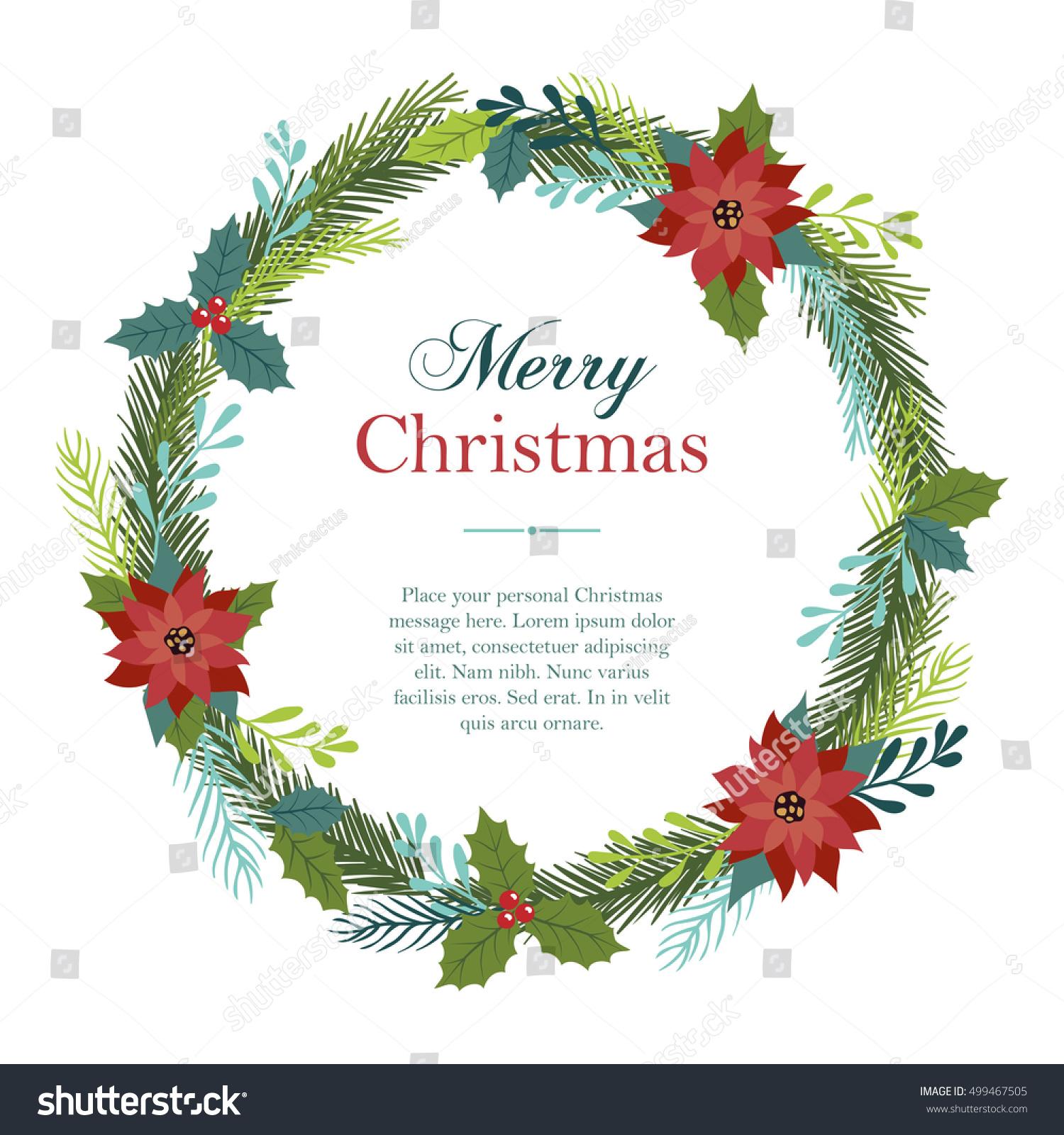 Christmas Wreath Made Flowers Holly Fir Stock Vector (Royalty Free ...