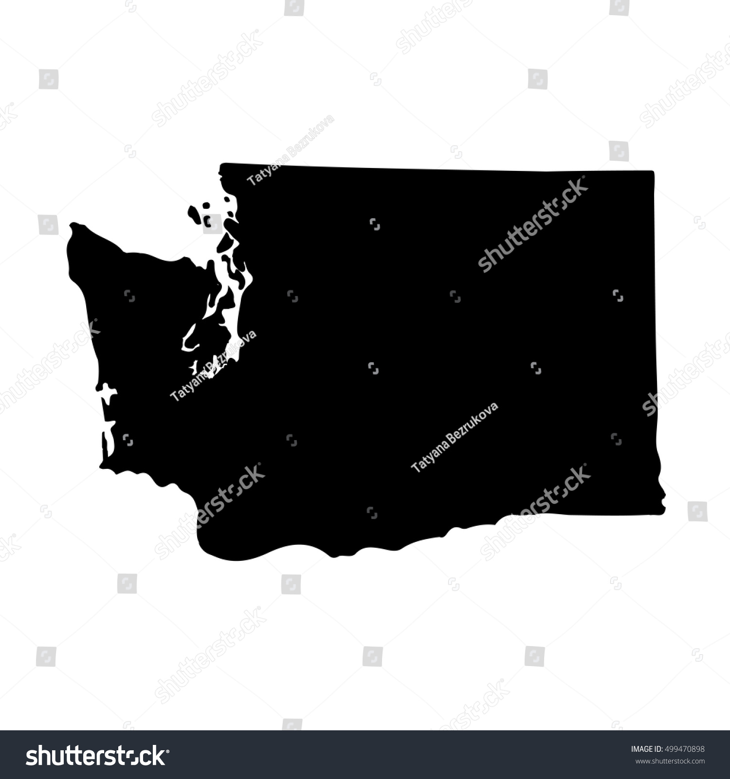 Map Of The U S State Of Washington On A White Background