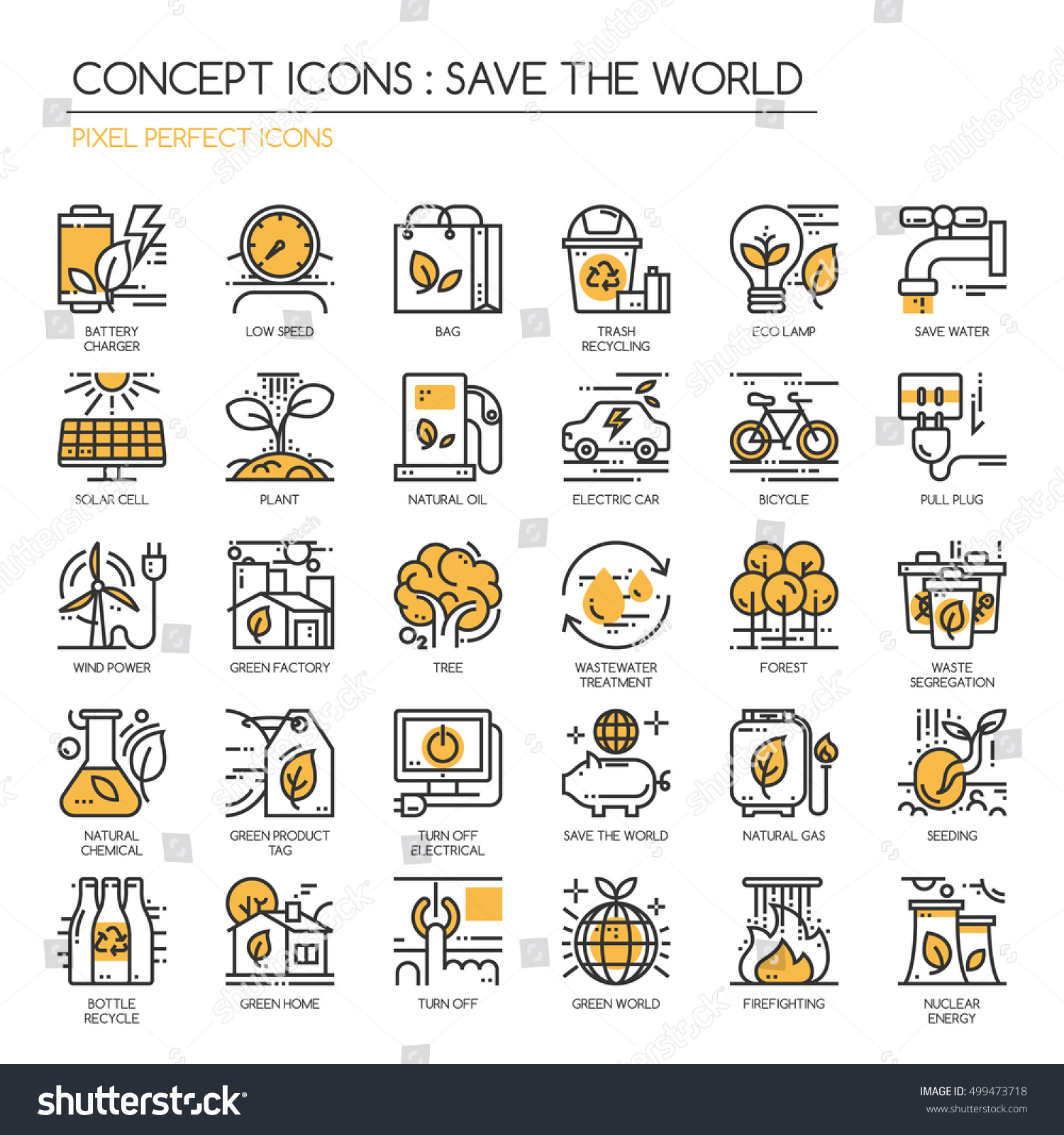 Save the world thin line icons set Pixel Perfect Icons