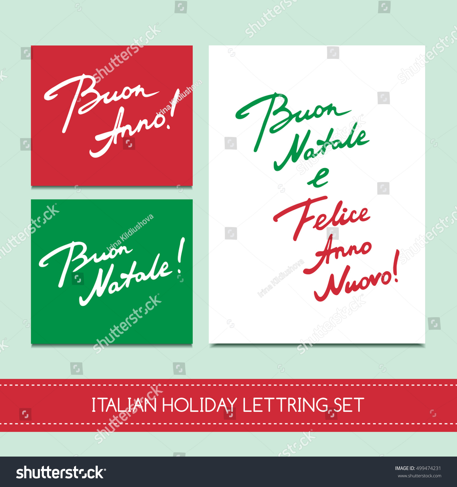 Set Italian Christmas Cards Buon Natale Stock Vector 499474231