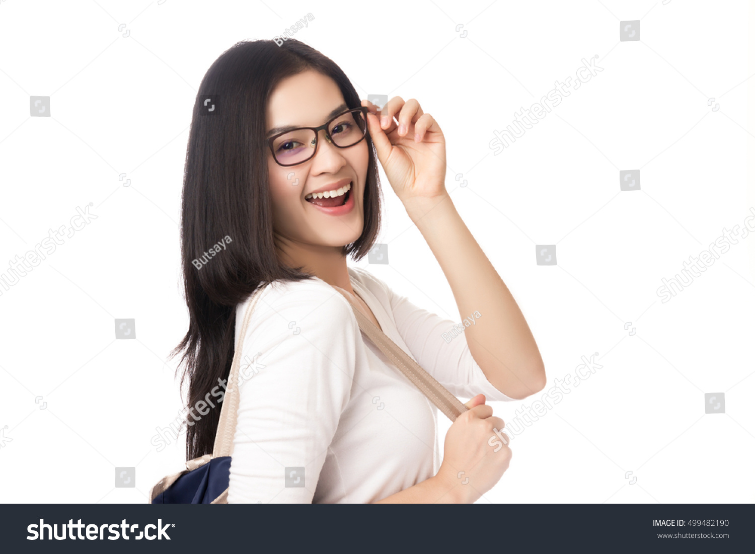 e13289b062f Young Asian woman wear eyeglasses beautiful student with bag isolated on  white background.