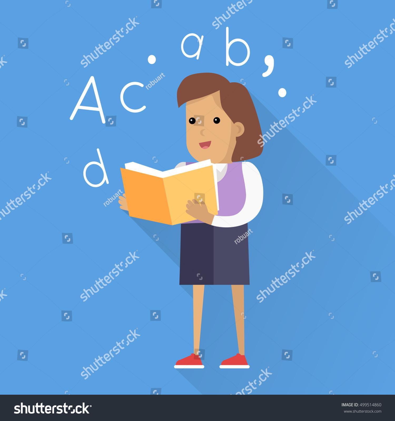 schoolgirl book smiling girl school uniform stock illustration