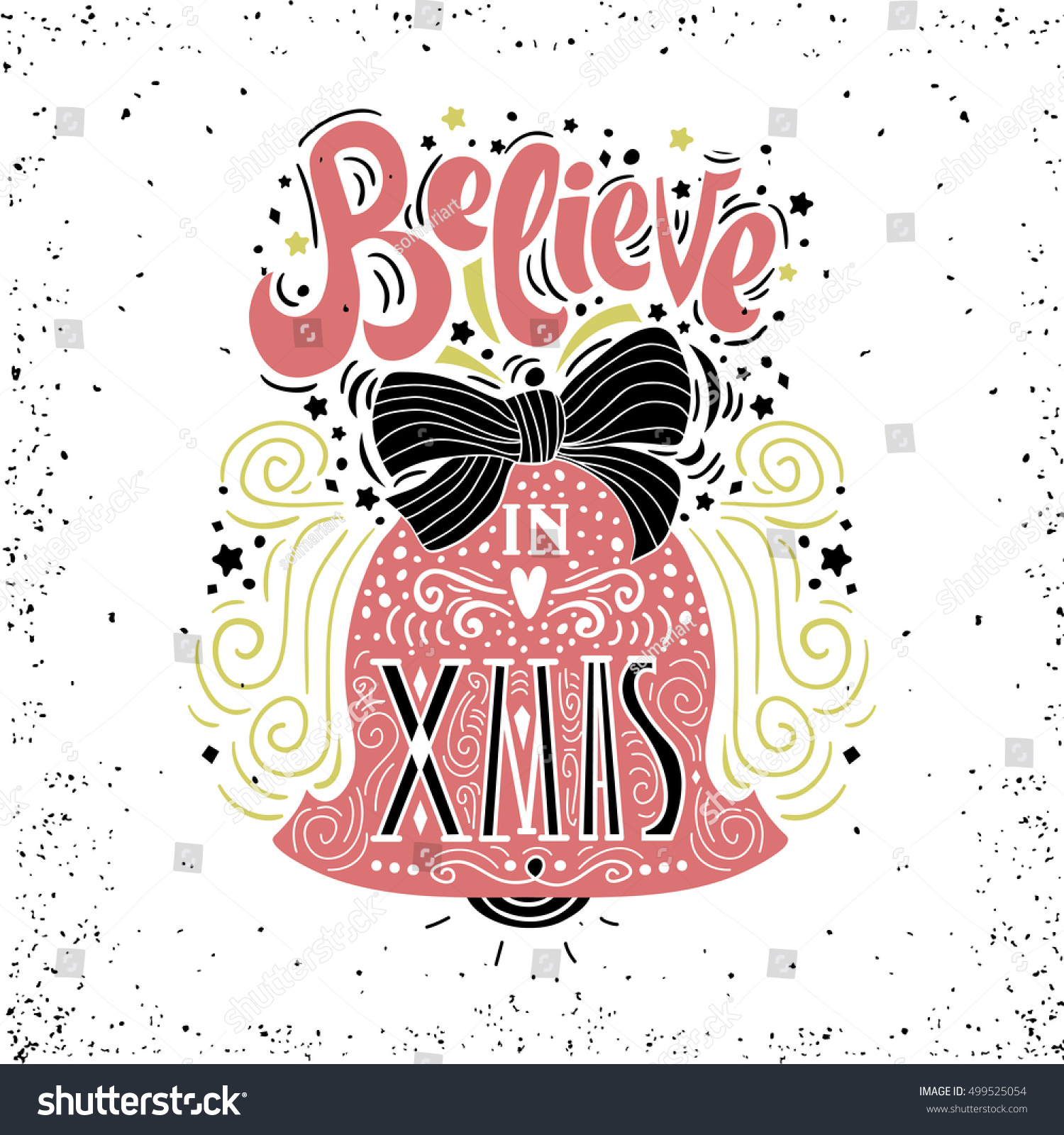 Believe in x mas christmas typographic poster greeting card print believe in x mas christmas typographic poster greeting card print winter holiday sayinghand lettering inside christmas bell ez canvas m4hsunfo