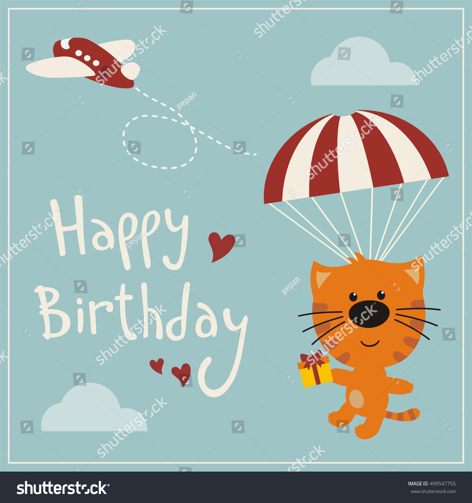 Happy Birthday Funny Kitten Cat Flying Stock Vector